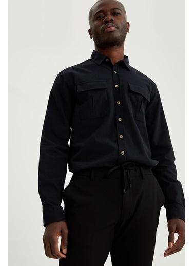 DeFacto Regular Fit Uzun Kollu Basic Pamuklu Gömlek Siyah